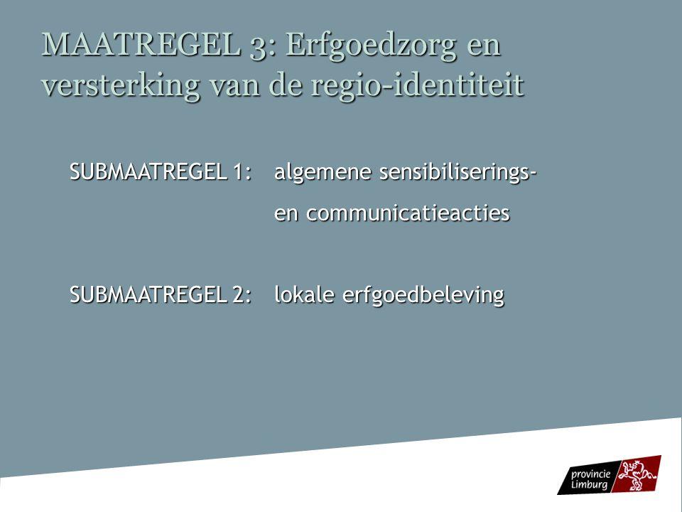 MAATREGEL 3: Erfgoedzorg en versterking van de regio-identiteit