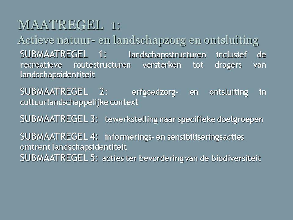 MAATREGEL 1: Actieve natuur- en landschapzorg en ontsluiting