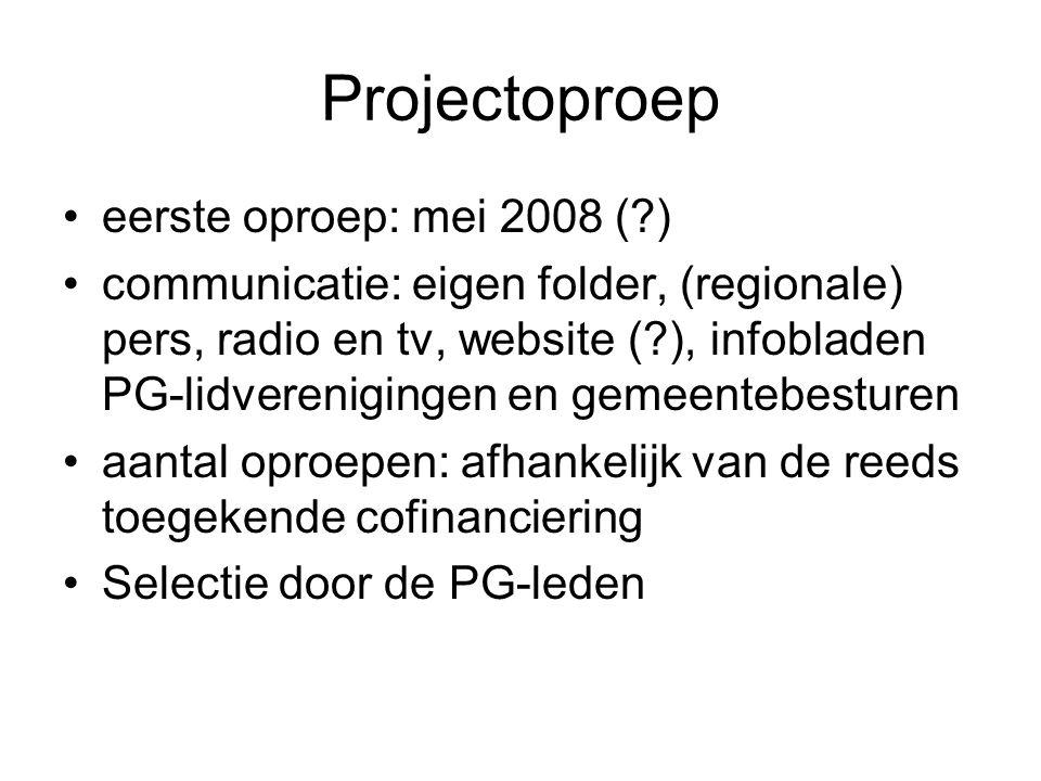 Projectoproep eerste oproep: mei 2008 ( )