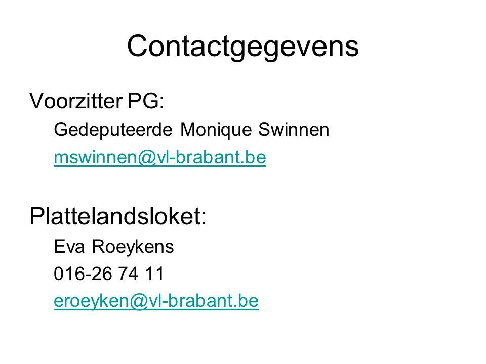 Contactgegevens Plattelandsloket: Voorzitter PG: