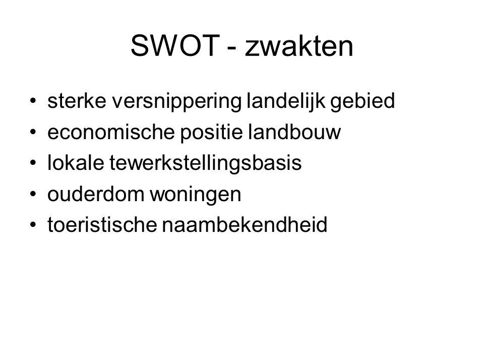 SWOT - zwakten sterke versnippering landelijk gebied