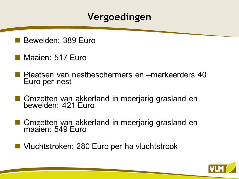 Vergoedingen Beweiden: 389 Euro Maaien: 517 Euro