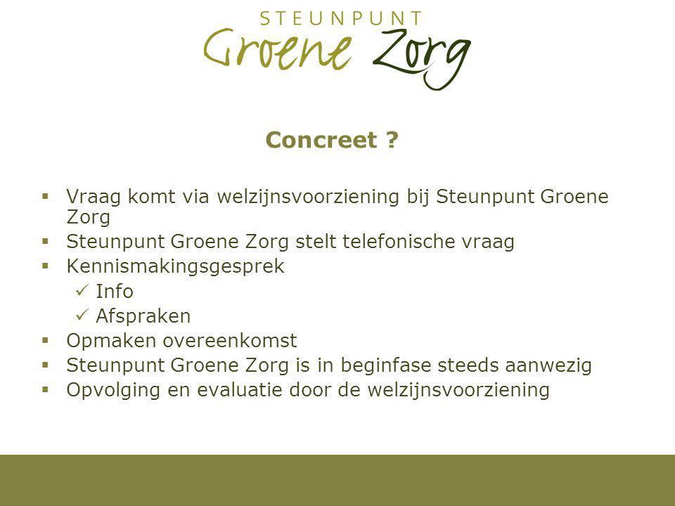 Concreet Vraag komt via welzijnsvoorziening bij Steunpunt Groene Zorg. Steunpunt Groene Zorg stelt telefonische vraag.