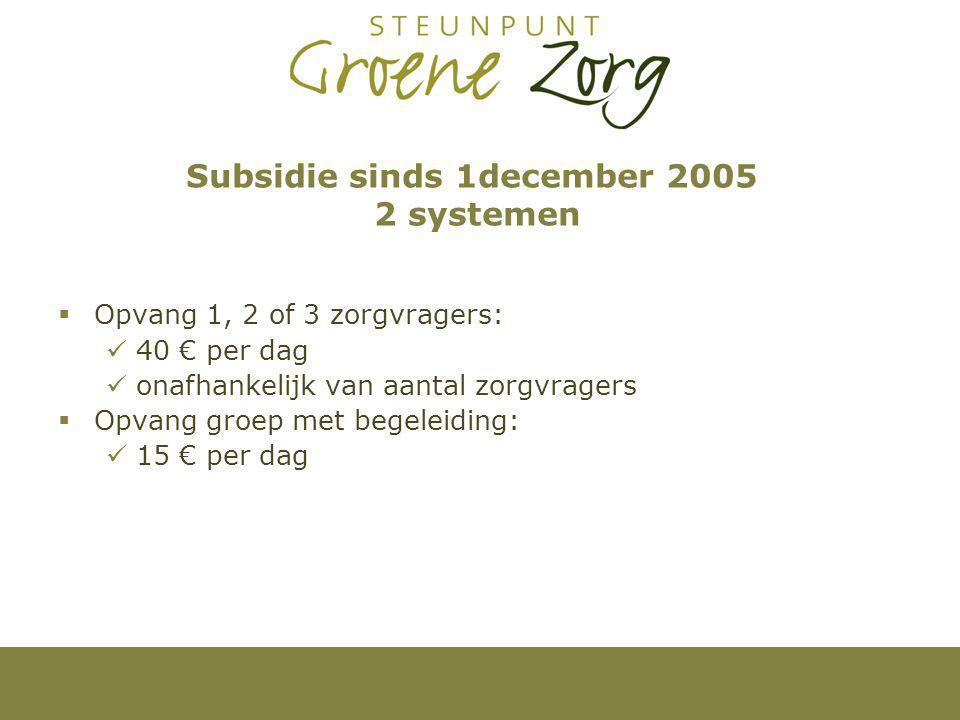 Subsidie sinds 1december 2005 2 systemen