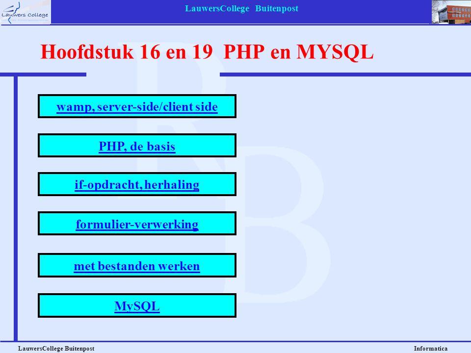 Hoofdstuk 16 en 19 PHP en MYSQL