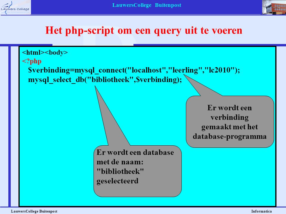 Het php-script om een query uit te voeren
