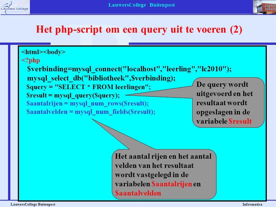 Het php-script om een query uit te voeren (2)