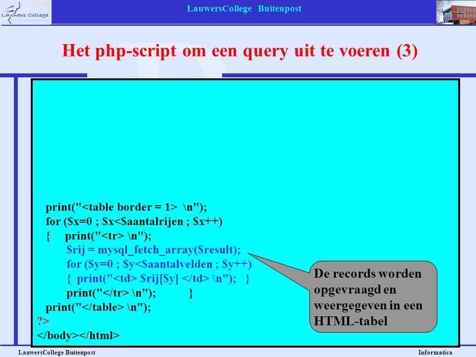 Het php-script om een query uit te voeren (3)