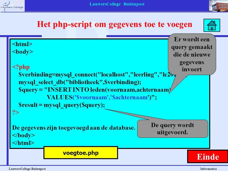 Het php-script om gegevens toe te voegen Einde
