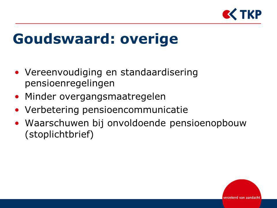 Goudswaard: overige Vereenvoudiging en standaardisering pensioenregelingen. Minder overgangsmaatregelen.