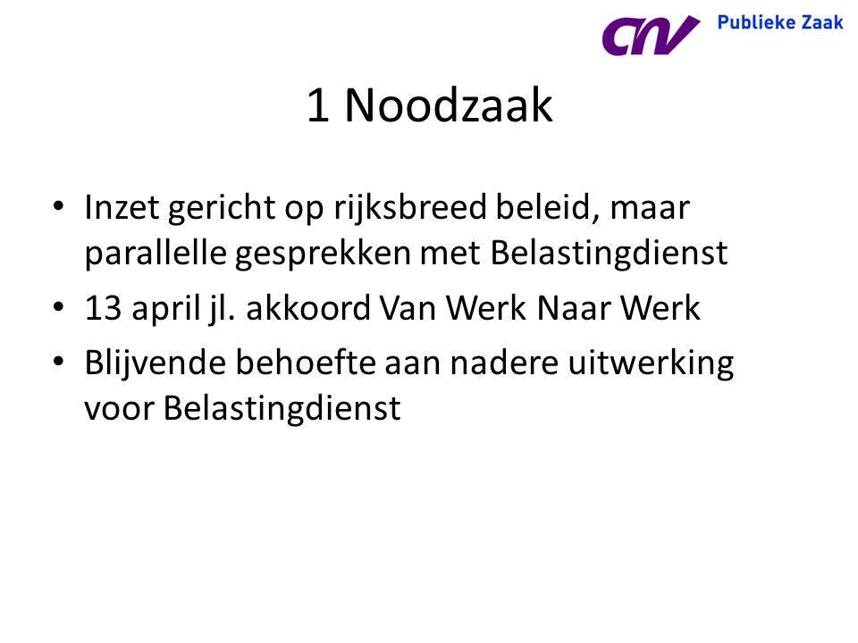 1 Noodzaak Inzet gericht op rijksbreed beleid, maar parallelle gesprekken met Belastingdienst. 13 april jl. akkoord Van Werk Naar Werk.
