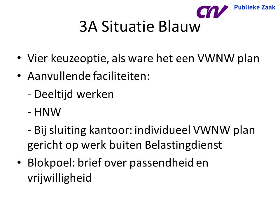 3A Situatie Blauw Vier keuzeoptie, als ware het een VWNW plan