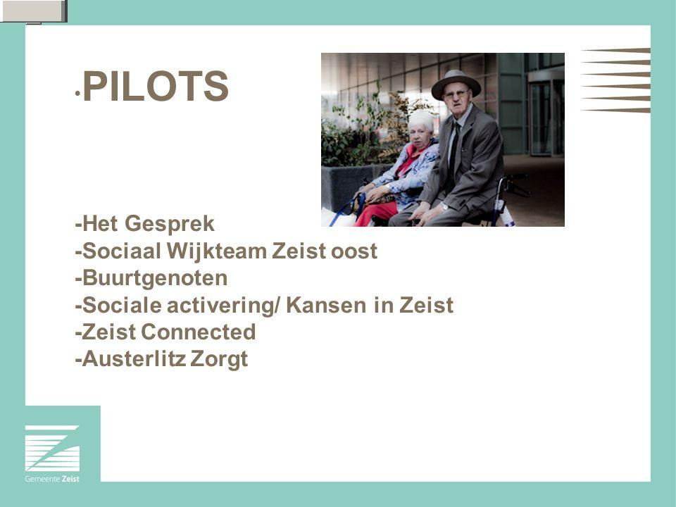 PILOTS -Het Gesprek -Sociaal Wijkteam Zeist oost -Buurtgenoten -Sociale activering/ Kansen in Zeist -Zeist Connected -Austerlitz Zorgt