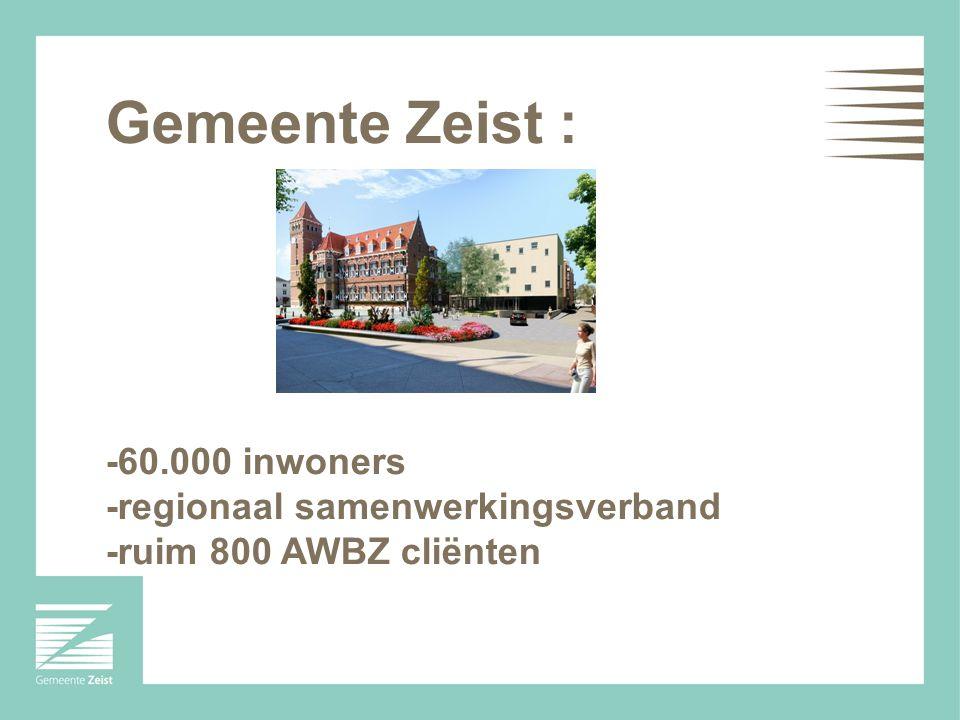 Gemeente Zeist : -60.000 inwoners -regionaal samenwerkingsverband -ruim 800 AWBZ cliënten