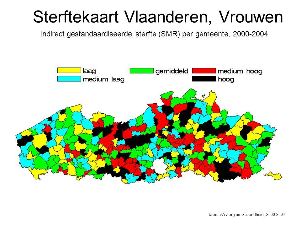 Sterftekaart Vlaanderen, Vrouwen