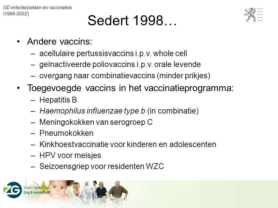 Sedert 1998… Andere vaccins: