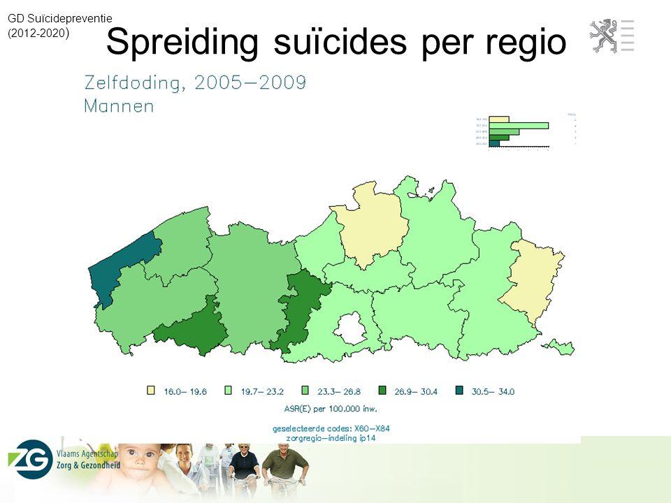 Spreiding suïcides per regio
