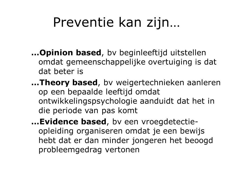 Preventie kan zijn… …Opinion based, bv beginleeftijd uitstellen omdat gemeenschappelijke overtuiging is dat dat beter is.