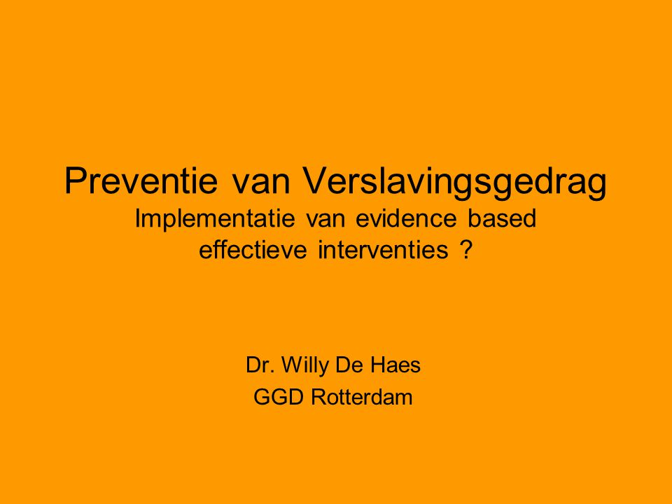 Dr. Willy De Haes GGD Rotterdam