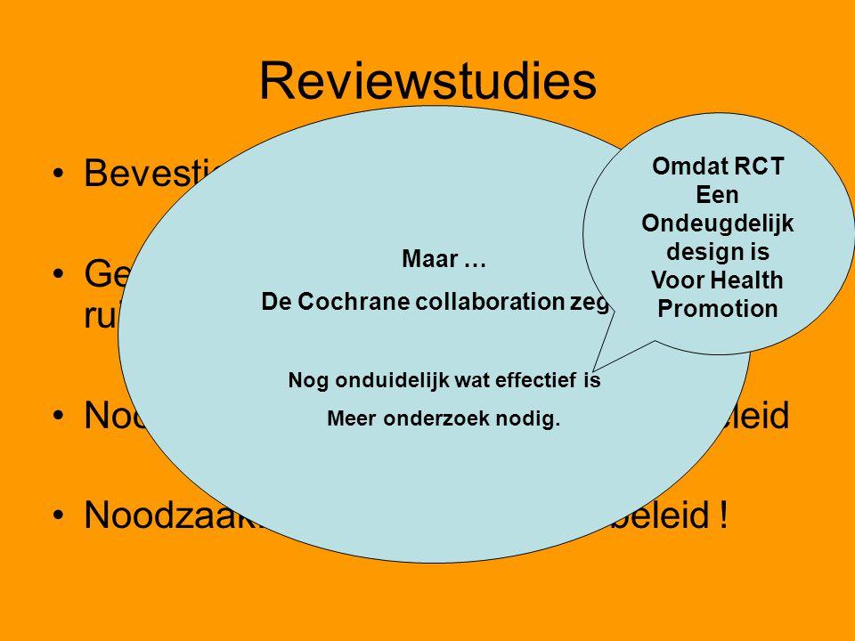 De Cochrane collaboration zegt: Nog onduidelijk wat effectief is