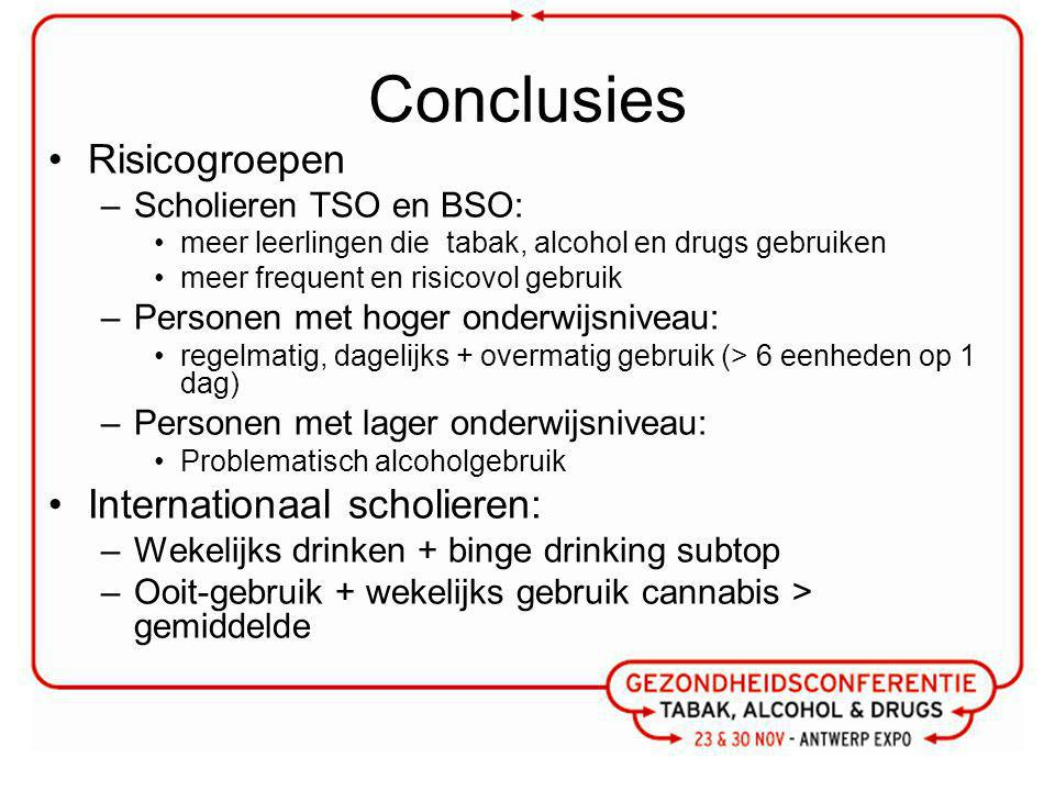 Conclusies Risicogroepen Internationaal scholieren: