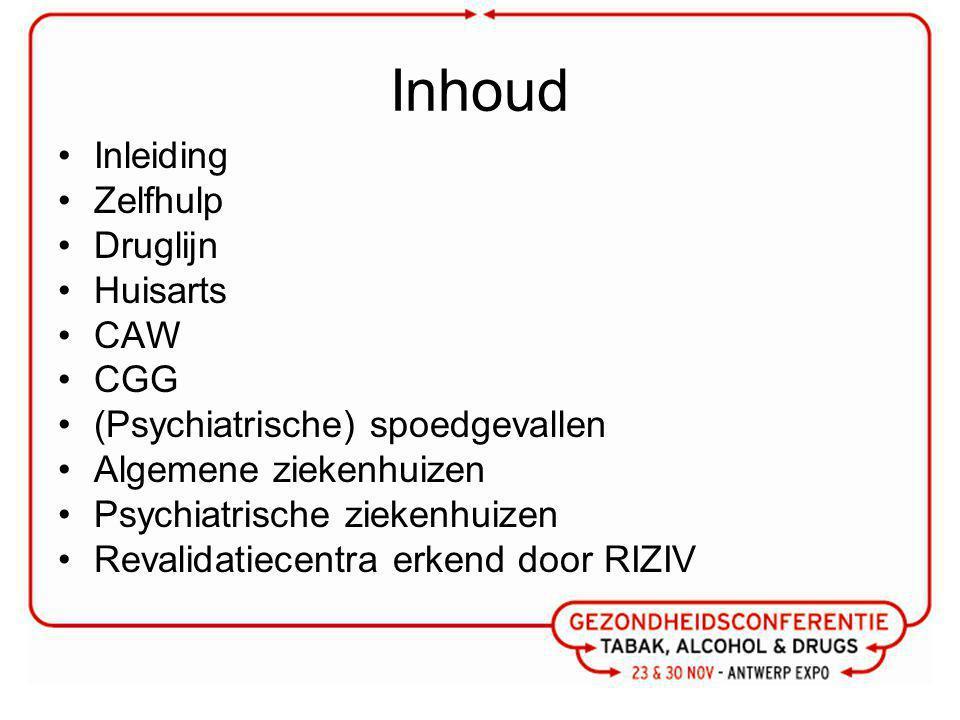 Inhoud Inleiding Zelfhulp Druglijn Huisarts CAW CGG