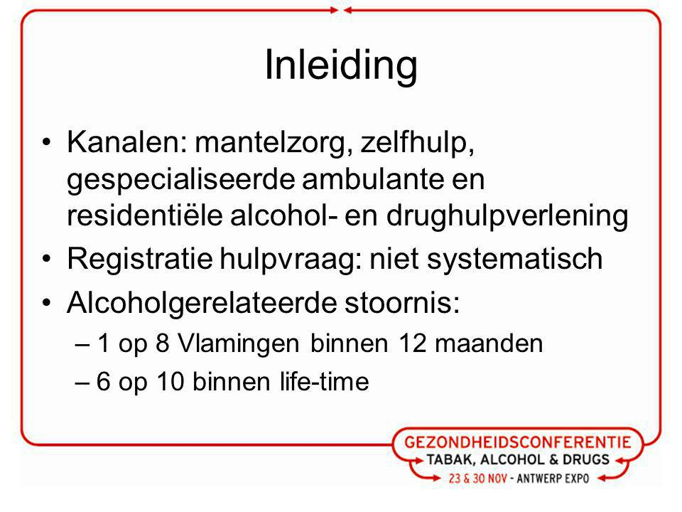 Inleiding Kanalen: mantelzorg, zelfhulp, gespecialiseerde ambulante en residentiële alcohol- en drughulpverlening.