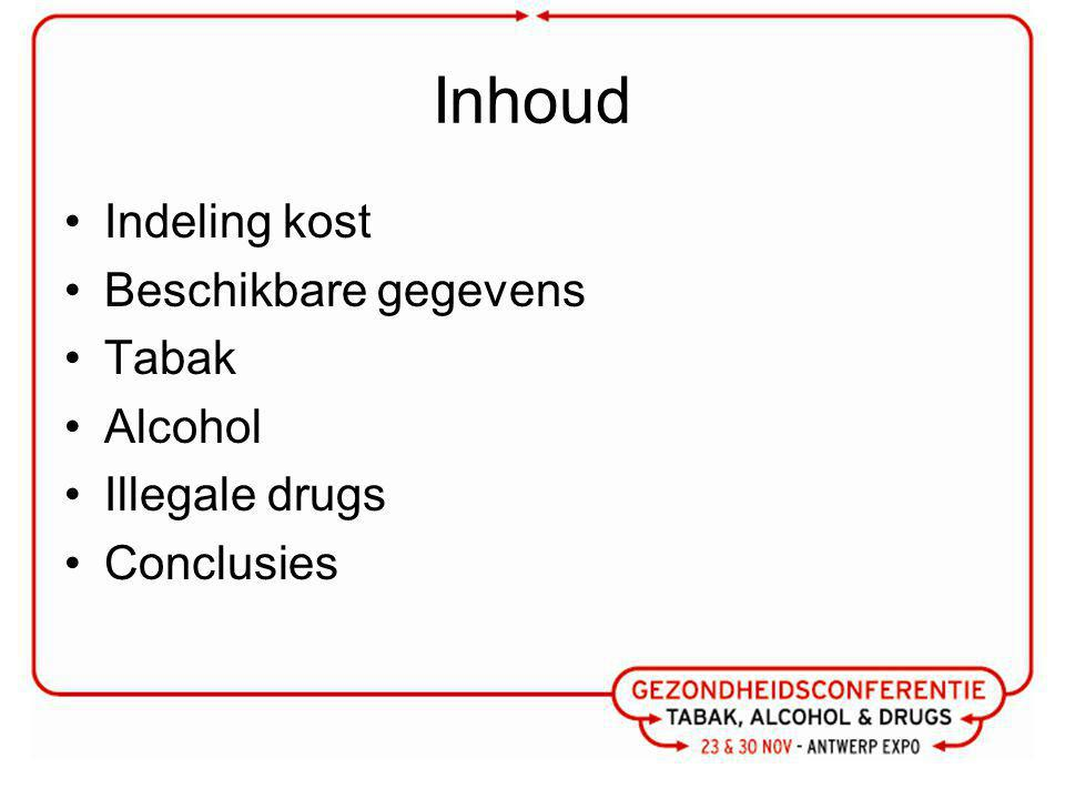 Inhoud Indeling kost Beschikbare gegevens Tabak Alcohol Illegale drugs
