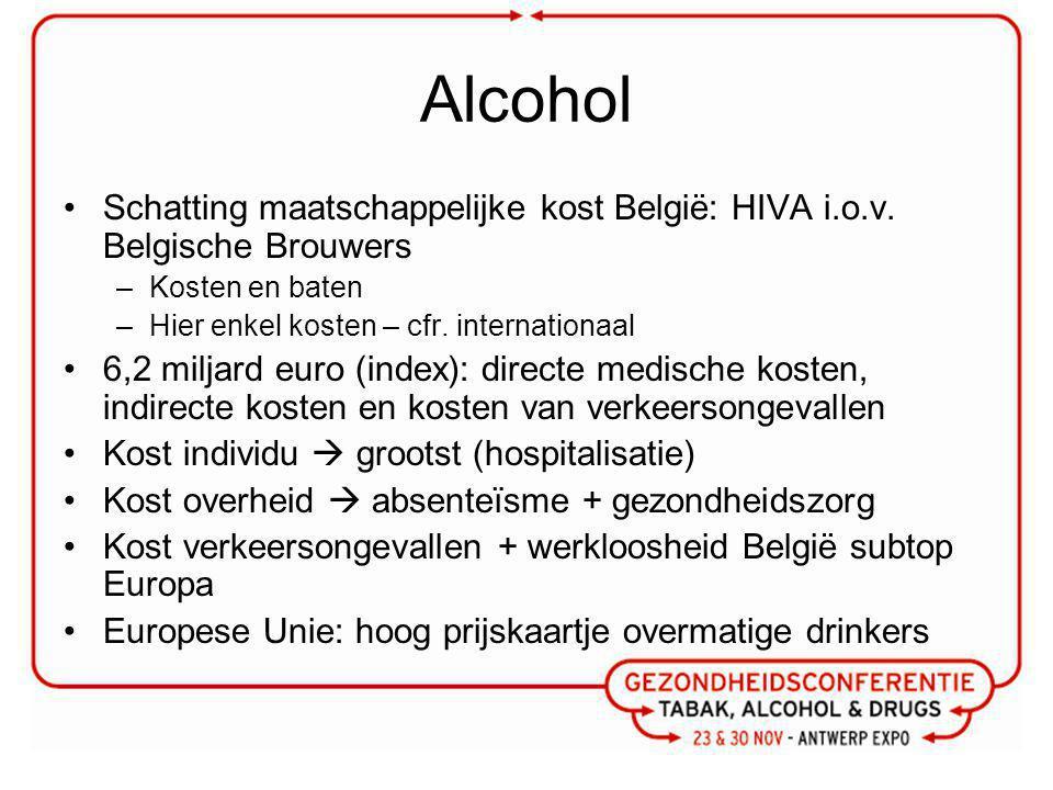 Alcohol Schatting maatschappelijke kost België: HIVA i.o.v. Belgische Brouwers. Kosten en baten. Hier enkel kosten – cfr. internationaal.