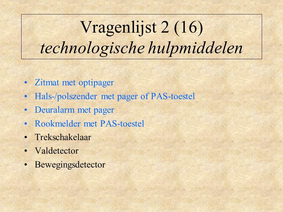 Vragenlijst 2 (16) technologische hulpmiddelen