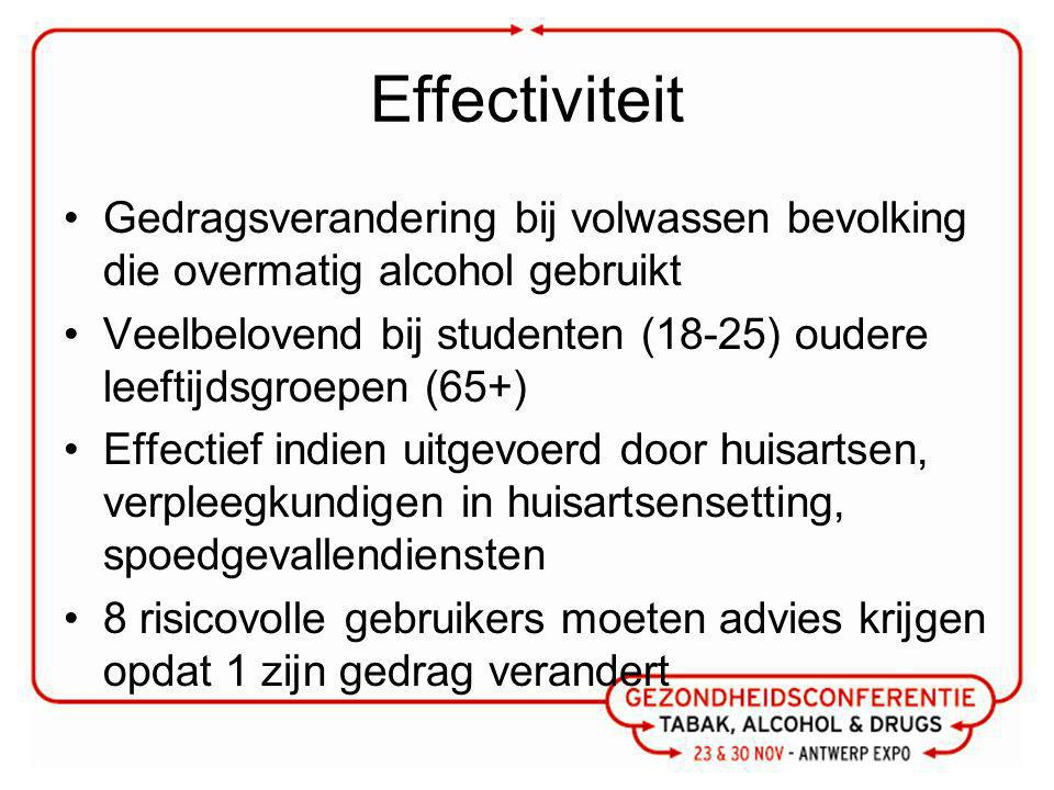 Effectiviteit Gedragsverandering bij volwassen bevolking die overmatig alcohol gebruikt.