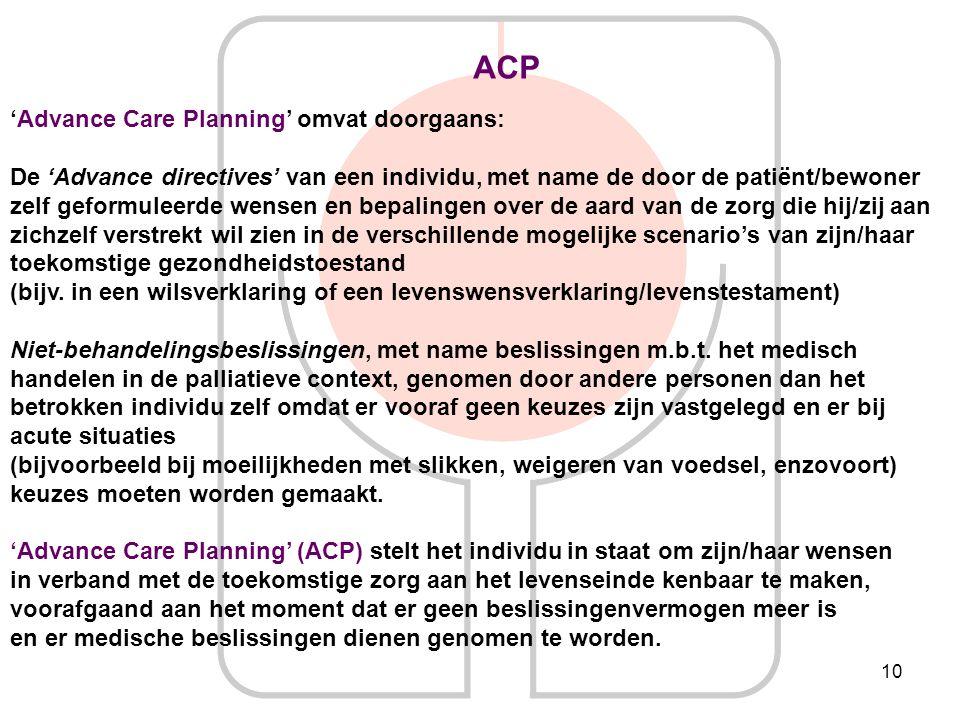 ACP 'Advance Care Planning' omvat doorgaans: