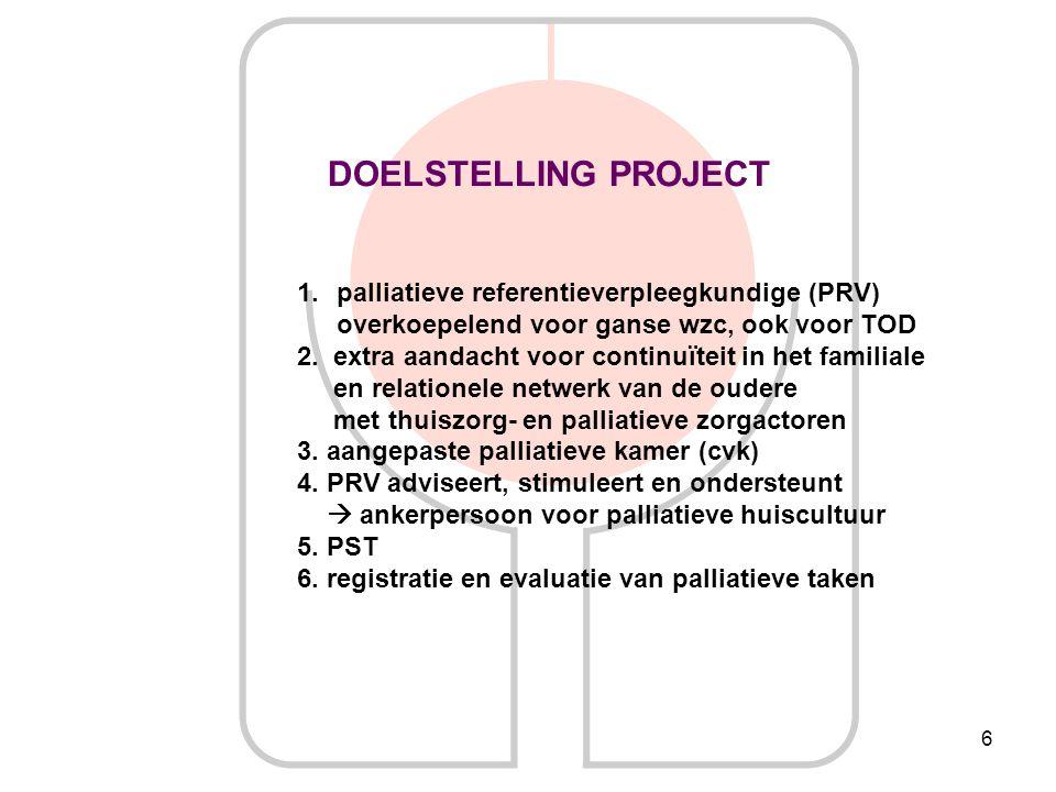 DOELSTELLING PROJECT palliatieve referentieverpleegkundige (PRV)