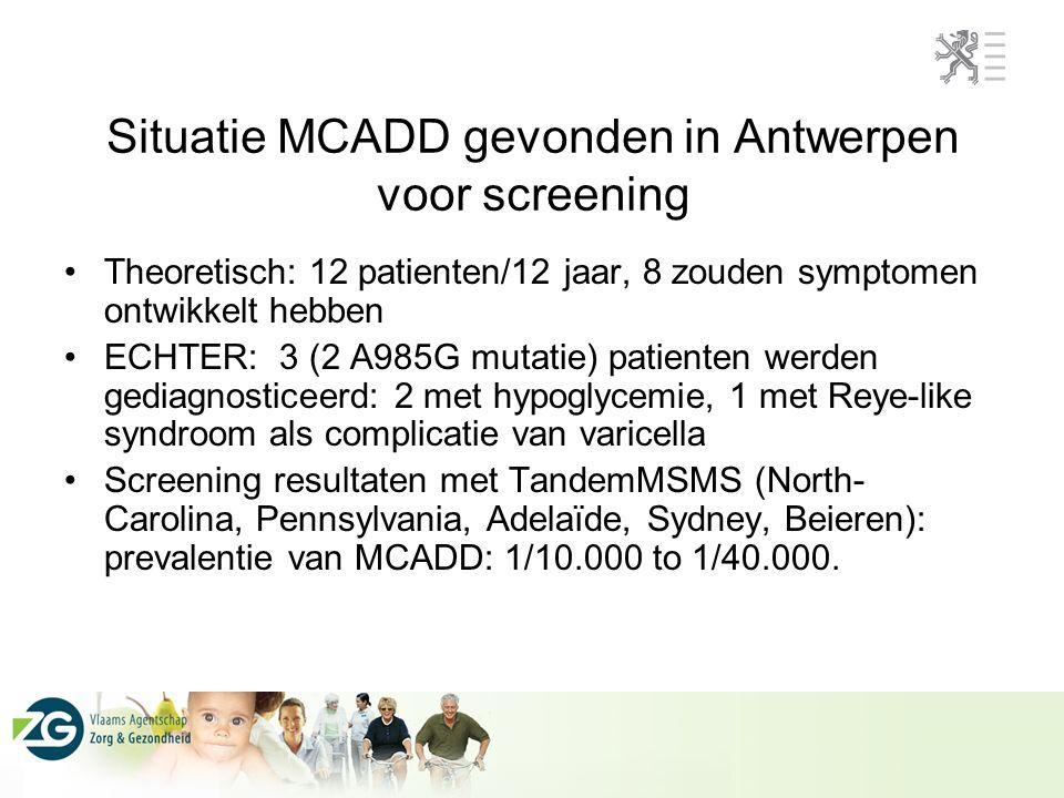 Situatie MCADD gevonden in Antwerpen voor screening