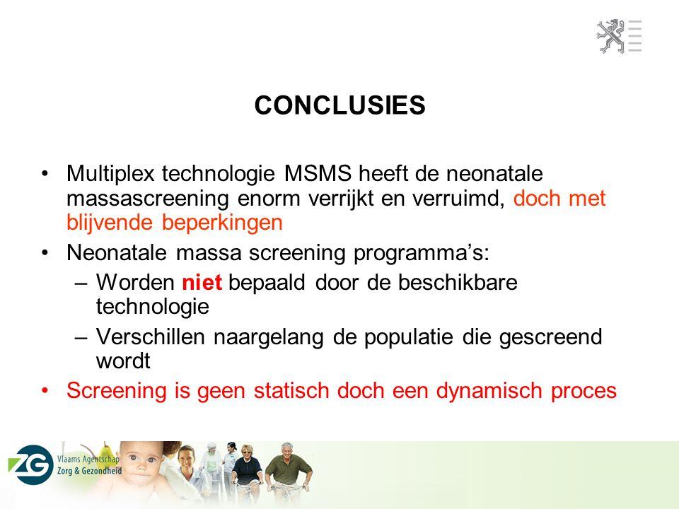 CONCLUSIES Multiplex technologie MSMS heeft de neonatale massascreening enorm verrijkt en verruimd, doch met blijvende beperkingen.