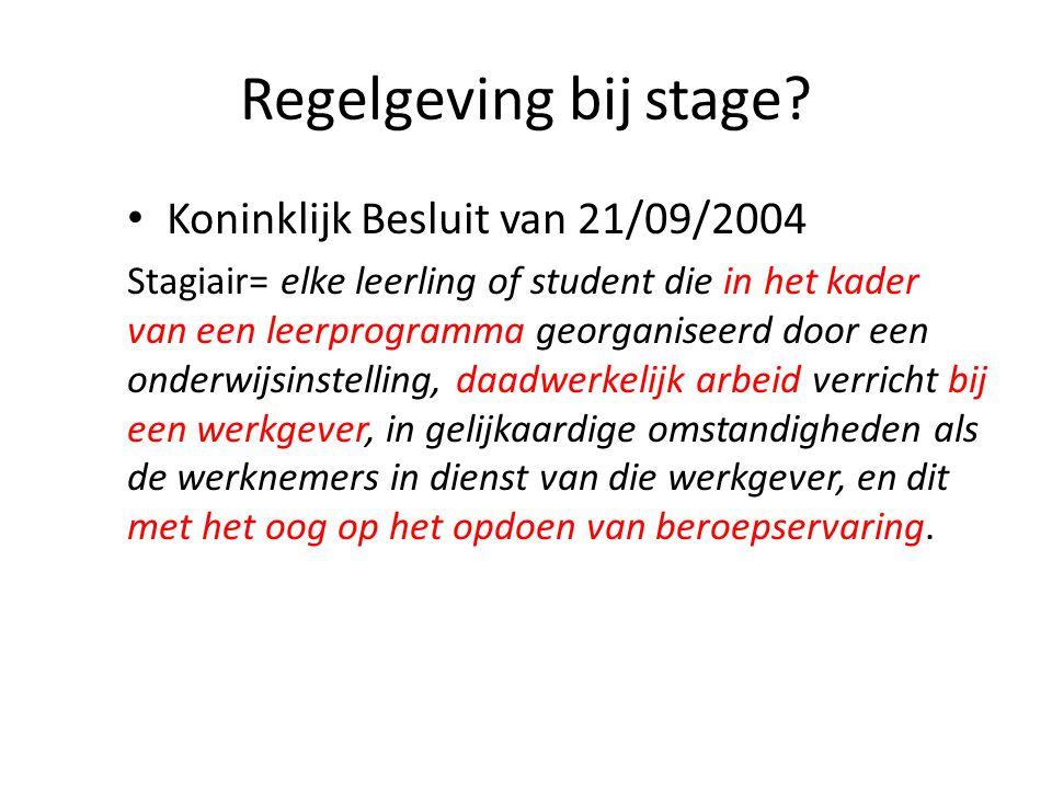 Regelgeving bij stage Koninklijk Besluit van 21/09/2004