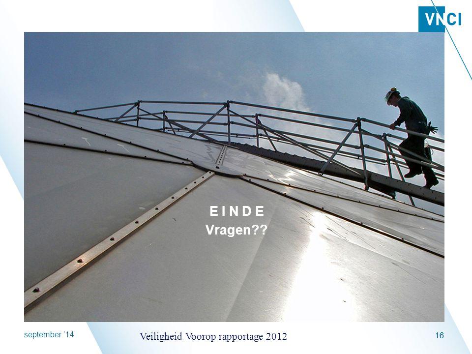 E I N D E Vragen april '17 Veiligheid Voorop rapportage 2012 16