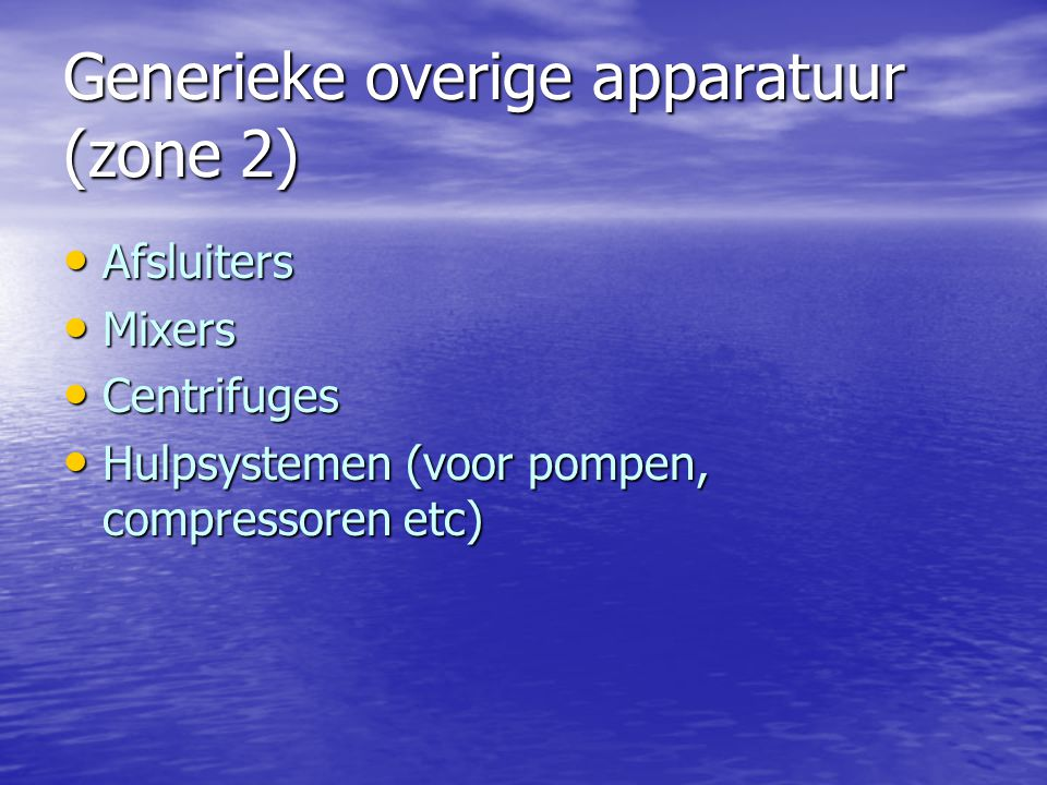 Generieke overige apparatuur (zone 2)