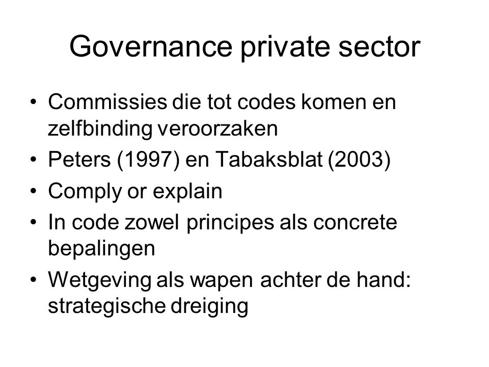 Governance private sector