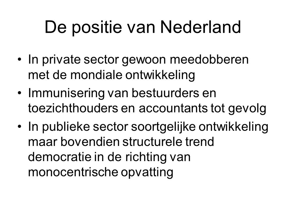 De positie van Nederland