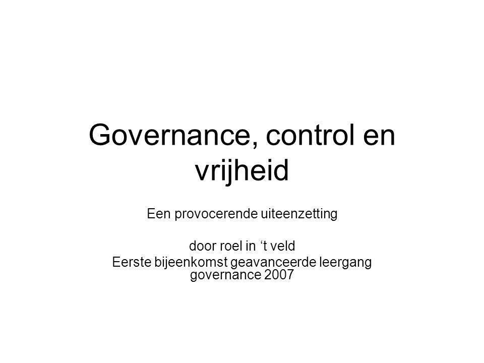 Governance, control en vrijheid