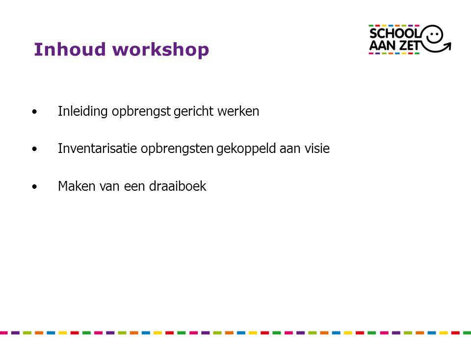 Inhoud workshop Inleiding opbrengst gericht werken