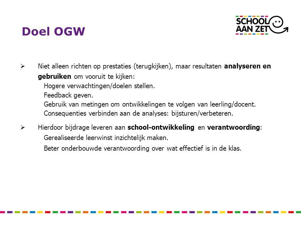 Doel OGW Niet alleen richten op prestaties (terugkijken), maar resultaten analyseren en gebruiken om vooruit te kijken: