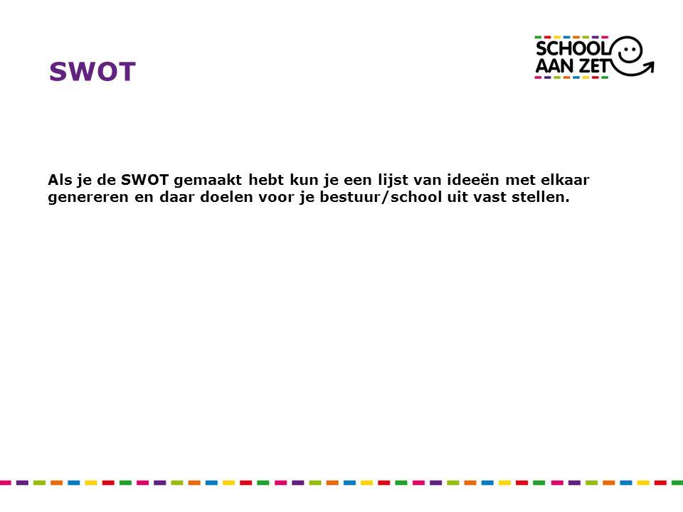 SWOT Als je de SWOT gemaakt hebt kun je een lijst van ideeën met elkaar genereren en daar doelen voor je bestuur/school uit vast stellen.