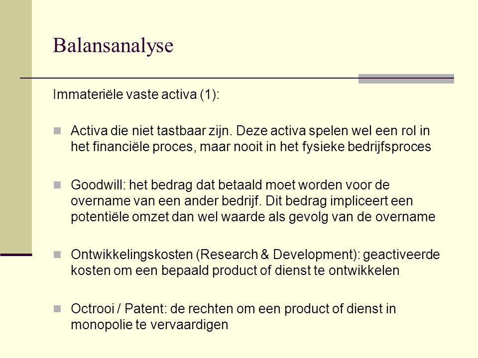 Balansanalyse Immateriële vaste activa (1):