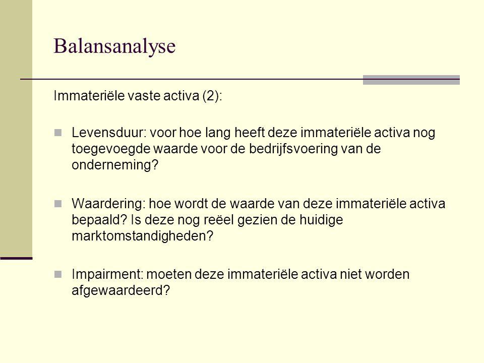 Balansanalyse Immateriële vaste activa (2):