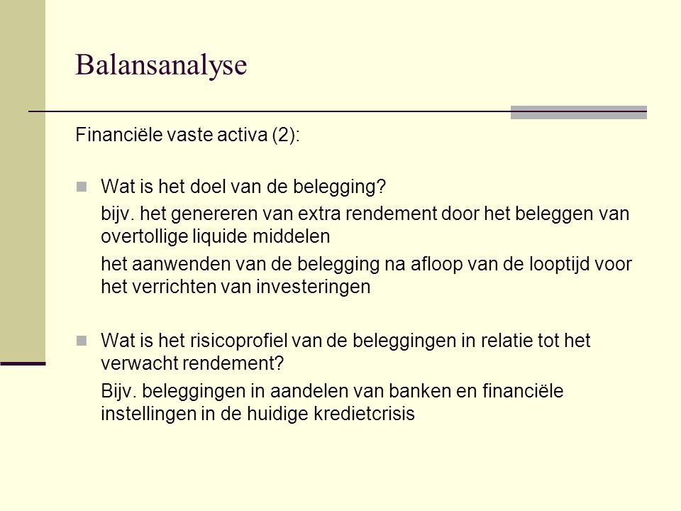 Balansanalyse Financiële vaste activa (2):