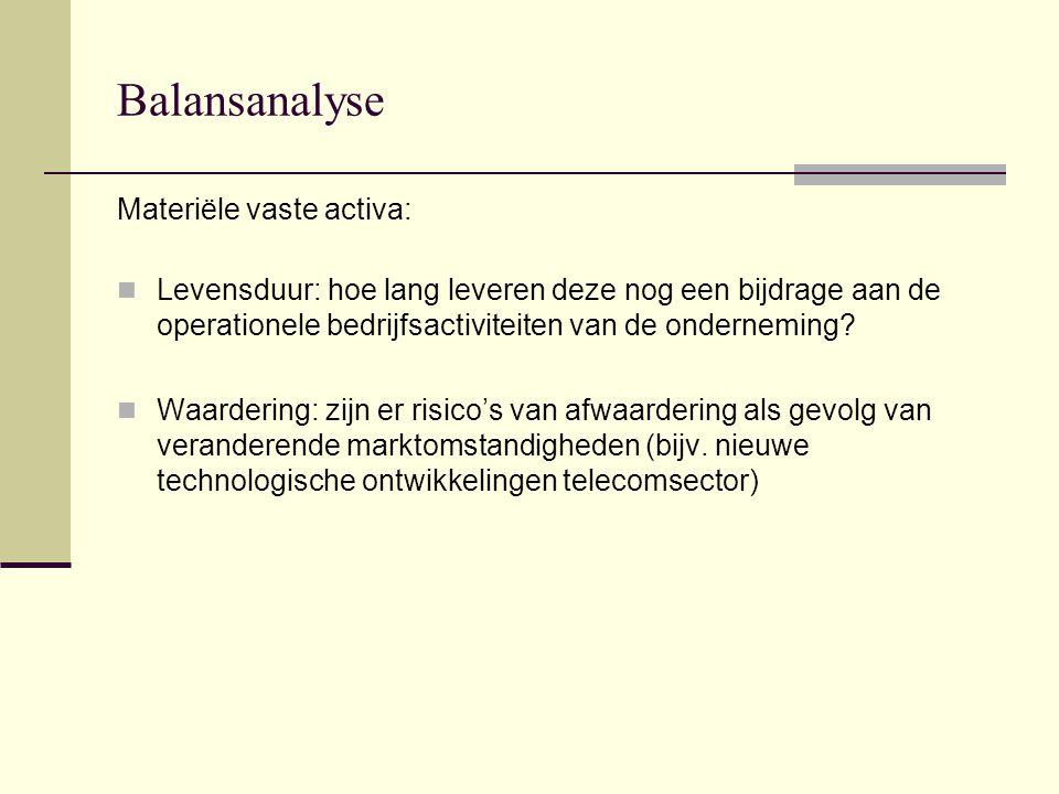 Balansanalyse Materiële vaste activa: