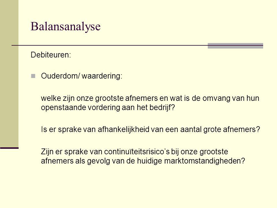 Balansanalyse Debiteuren: Ouderdom/ waardering: