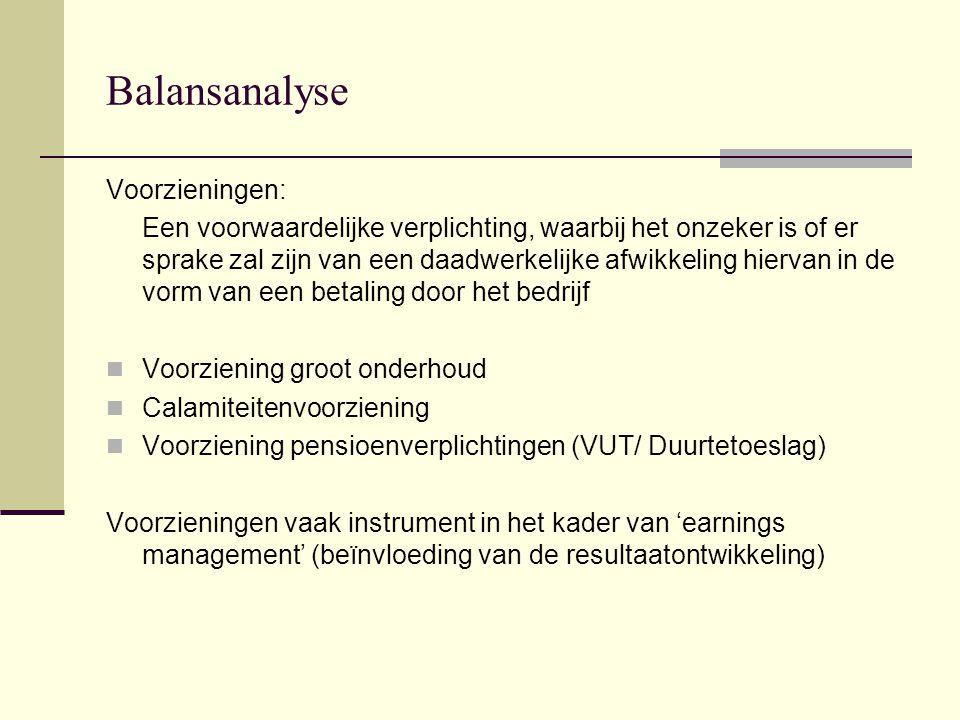 Balansanalyse Voorzieningen: Voorziening groot onderhoud